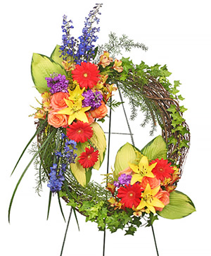 BRILLIANT SYMPATHY WREATH  Funeral Flowers in Gig Harbor, WA | GIG HARBOR FLORIST TM- FLOWERS BY THE BAY LLC