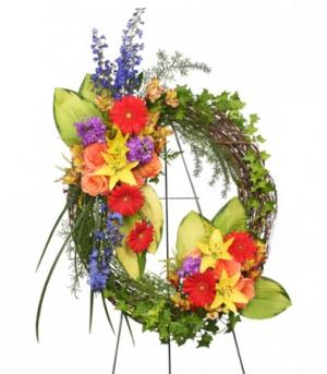 BRILLIANT SYMPATHY WREATH  Funeral Flowers in Burbank, CA | LA BELLA FLOWER & GIFT SHOP