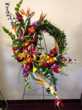 Brilliant tropical birds of Paradise Wreath