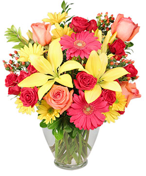 Bring On The Happy Vase of Flowers in Chicopee, MA | GOLDEN BLOSSOM FLOWERS & GIFTS