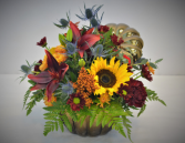 BRONZE PUMPKIN HARVEST FRESH FLOWER ARRANGEMENT