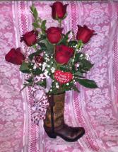 Brown Rose Boot
