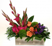 Brush Of Blooms Container Arrangement