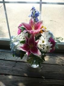 Bubble Bowl Hydrangea, Lilies, Delphinium