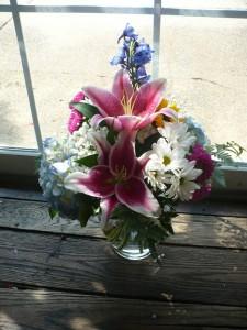 Bubble Bowl Hydrangea, Lilies, Delphinium in Mechanicsburg, PA   Garden Bouquet