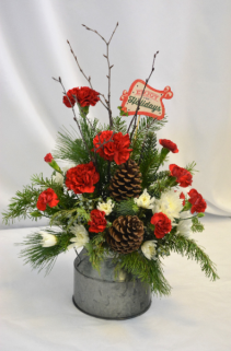 BUCKET FULL OF HOLIDAY WISHES SEASONAL ARRANGEMENT
