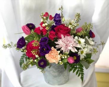 Bucket of Love fresh arrangement