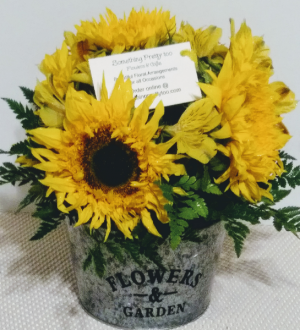Bucket of Sunflowers Vintage Arrangement in Memphis, TN | Something Pretty Too Flower And Gifts