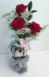 """Bud"" The Bear with Roses Classic bud vase with Teddy Bear"