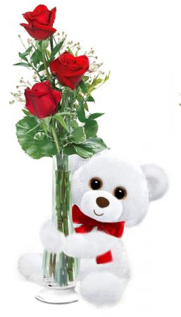 bud vase with bear huggum Valentine's Day