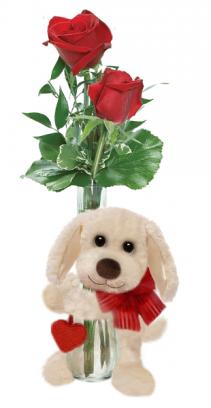 bud vase with dog huggum Valentine's Day