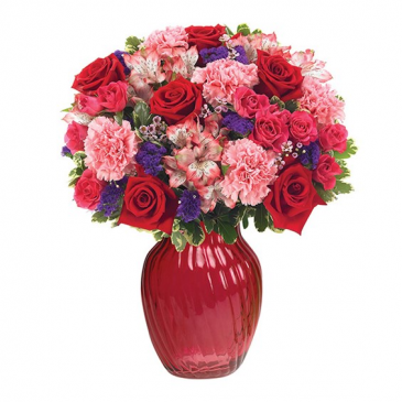 BUDDING ROMANCE RED AND PINK FLOWERS