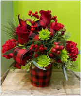 Buffalo Plaid Christmas Arrangement