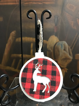 Buffalo Plaid Deer Ornament