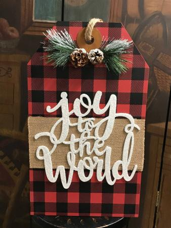Buffalo Plaid Wooden Hanging Gift Tag
