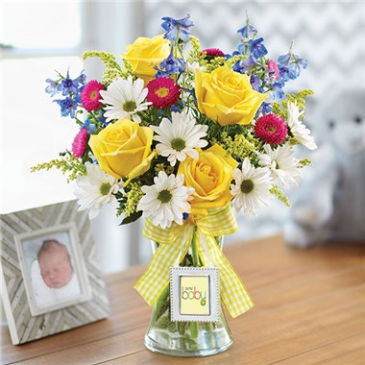BUNDLES OF BLOOMS with sm. picture frame on vase