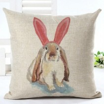 Bunny #2 ($35.00 set) Cotton Linen Pillow 18x18 inches