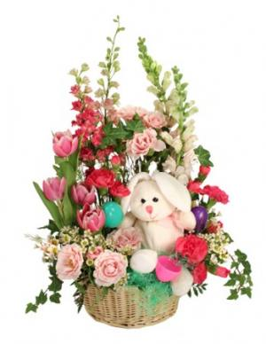 Bunny Blooms Basket Arrangement in Buda, TX | BUDAFUL FLOWERS