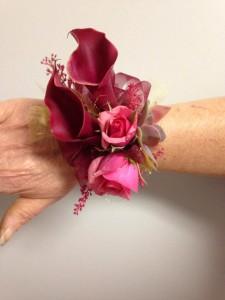 Burgandy Baby Wrist corsage