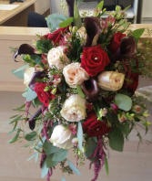 Burgandy, ivory and blush bouquet Calla lilys, roses and eucalyptus :