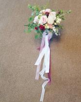 Burgundy and Blush Boho style Wedding Bouquet, Hand tied