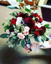 Burgundy and Blush Wedding Bouquet, Hand tied