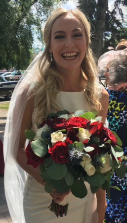 Burgundy and Cream Roses aBridal Bouquet  Wedding