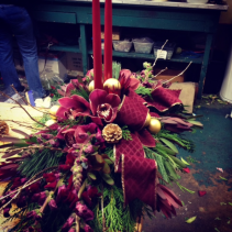 Burgundy and Gold Christmas Centerpiece