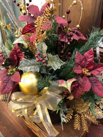 Burgundy and Gold Silk Arrangement artifical arrangement