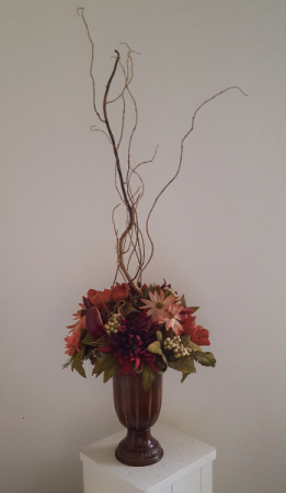 Burgundy and Mauve in metal container Silk Arrangement