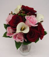 Burgundy and Pink Roses, Cream Mini Calla Lilies and Hypericum Berries