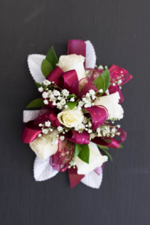 Burgundy and White Spray Rose Corsage