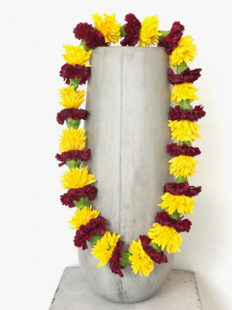 BURGUNDY AND YELLOW CARNATION LEI GRADUATION LEI