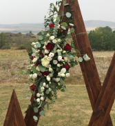Burgundy Arch flowers (Willow Hill Lodge) Ceremony