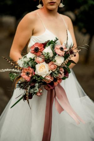 Burgundy Blush & Cream Modern  Bridal Bouquet