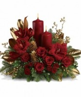 BURGUNDY BOUNTY  CHRISTMAS CENTERPIECE