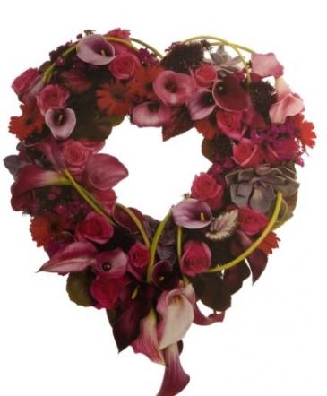 Burgundy Calla Heart Funeral