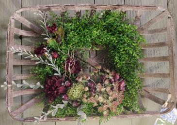 Burgundy Chic Hanging Basket Wreath