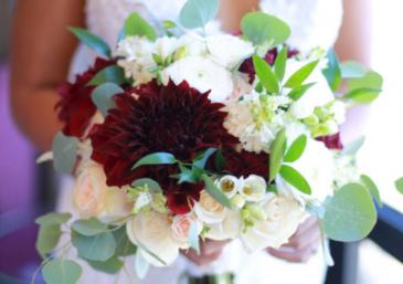 Burgundy & creams  Bridal Bouquet