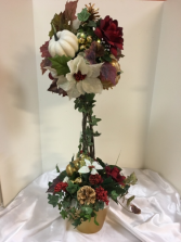 Burgundy, gold and cream topiary 30