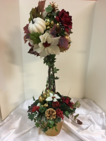 "Burgundy, gold and cream topiary 30"" silk arrangement with lights"