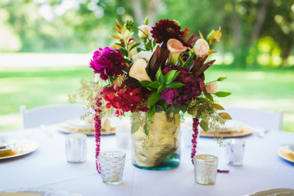 Burgundy & Gold Centerpiece