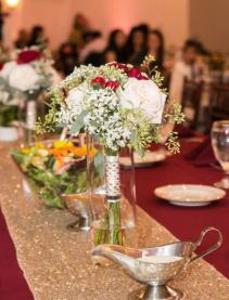 Burgundy romance bridesmaid bouquet wedding