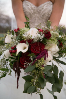 Burgundy romance wedding bouquet