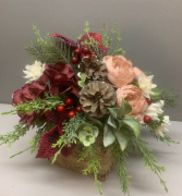 Burgundy white and blush with Christmas  greens and pinecones in bark box silk arrangement (ARTIFICIAL)
