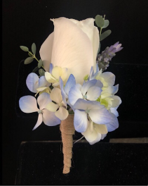 Burlap and blue Boutonniere