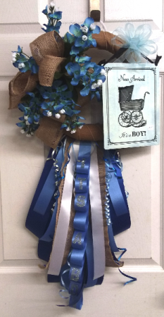 Burlap and Bluebonnets Door Wreath