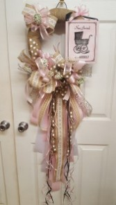 Burlap and Bows New Baby Girl Baby door badge wreath