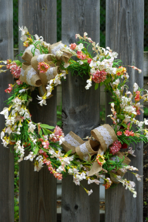 Burlap and Lace Silk Wreath
