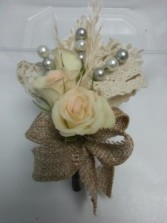 Burlap and Rose Corsage